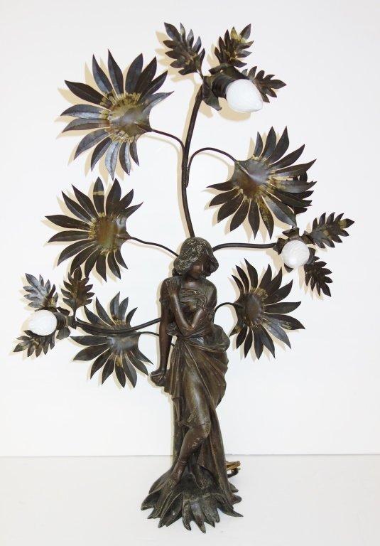 Ornate woman lighted figure lamp signed