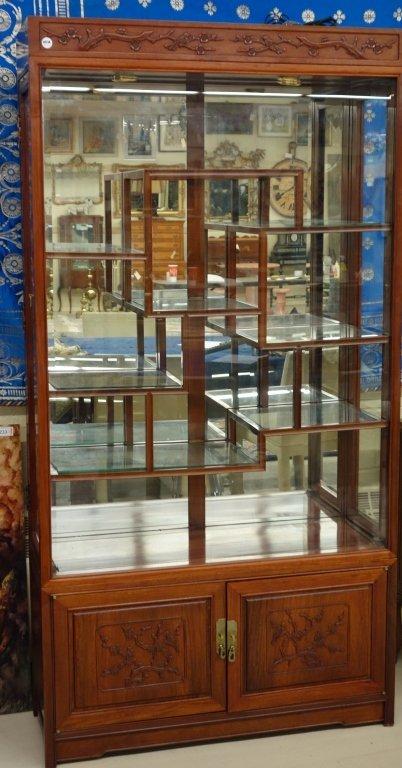 Oriental glass curio cabinet