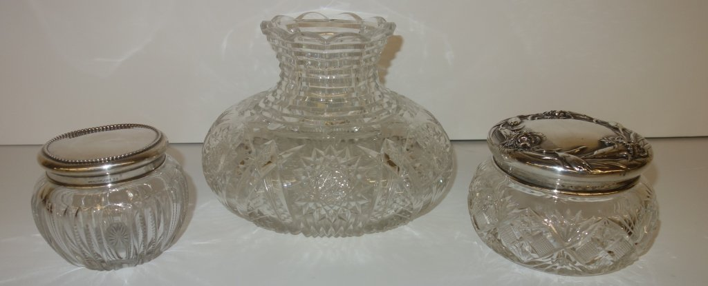 3 piece lot-crystal shade, sterling covered jars
