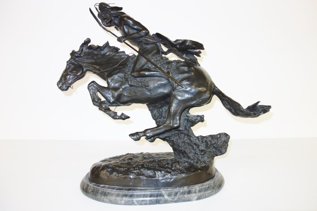 Large bronze Indian on horse statue