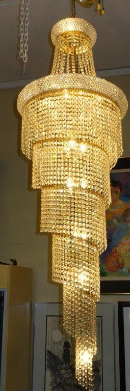 Elegant spiral crystal hanging chandelier