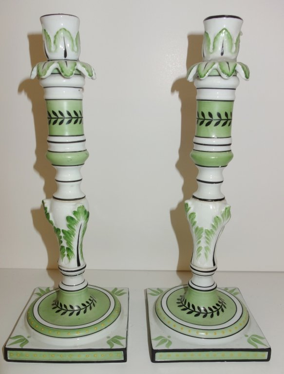 Pair of green candle holders