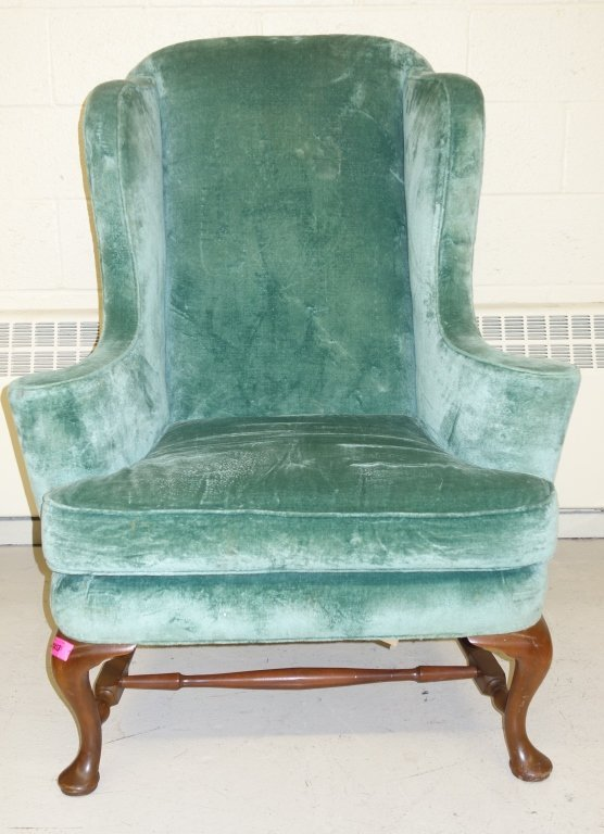 vintage Queen Anne style wing back chair