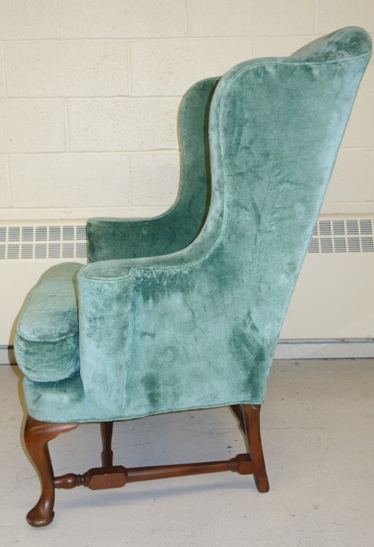 vintage Queen Anne style wing back chair - 2
