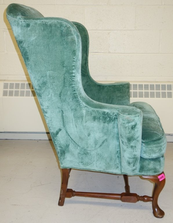 vintage Queen Anne style wing back chair - 4