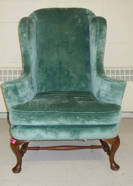 vintage Queen Anne style wing back chair - 5