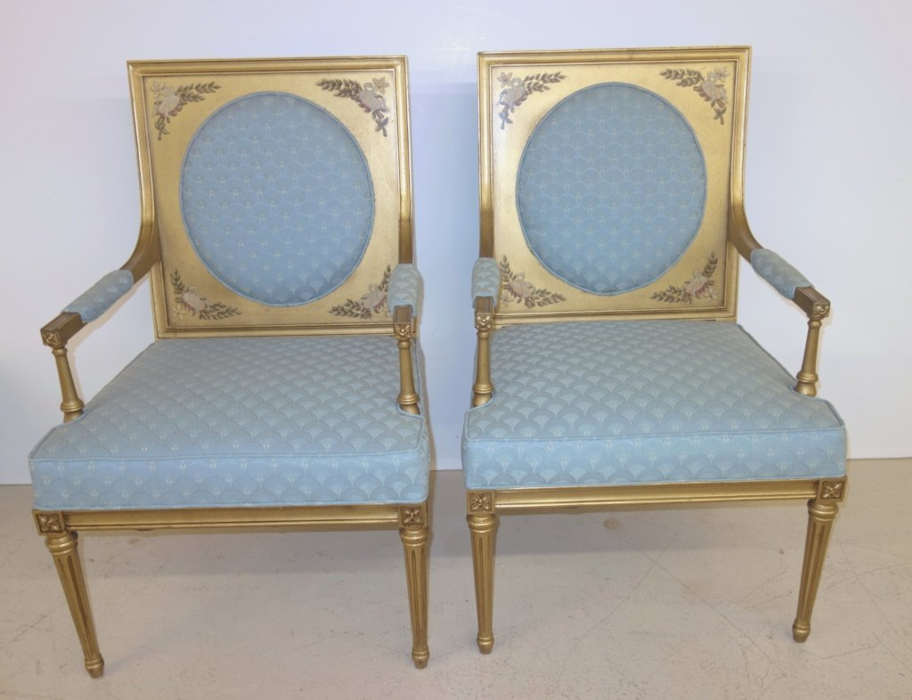 Pair of blue upholstered and painted chairs