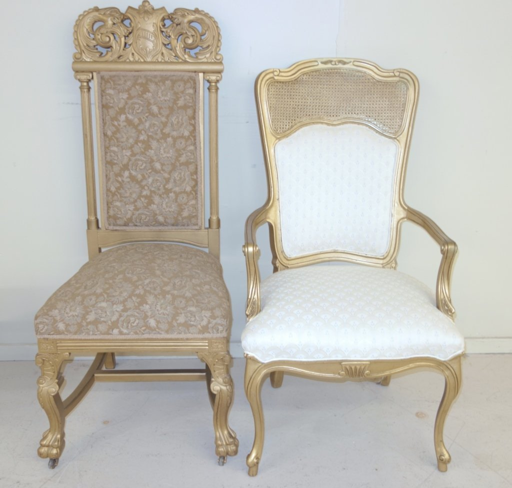 2 chairs gilt high back & cane back