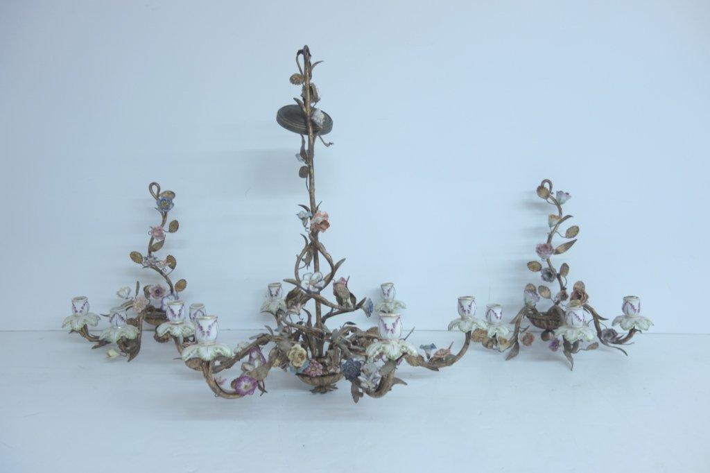 3 pc. set floral porcelain sconces & chandelier