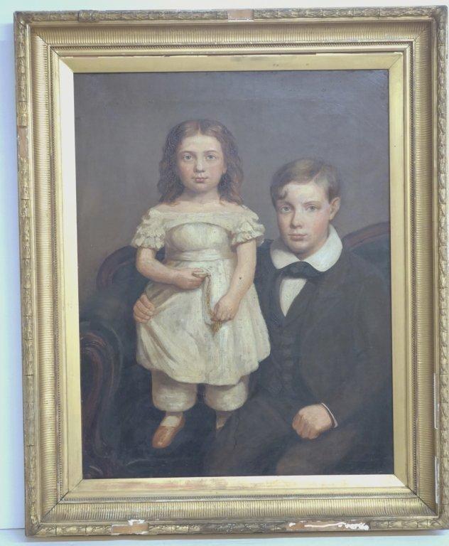 Large oil on canvas portrait of children