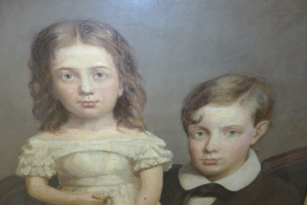 Large oil on canvas portrait of children - 3