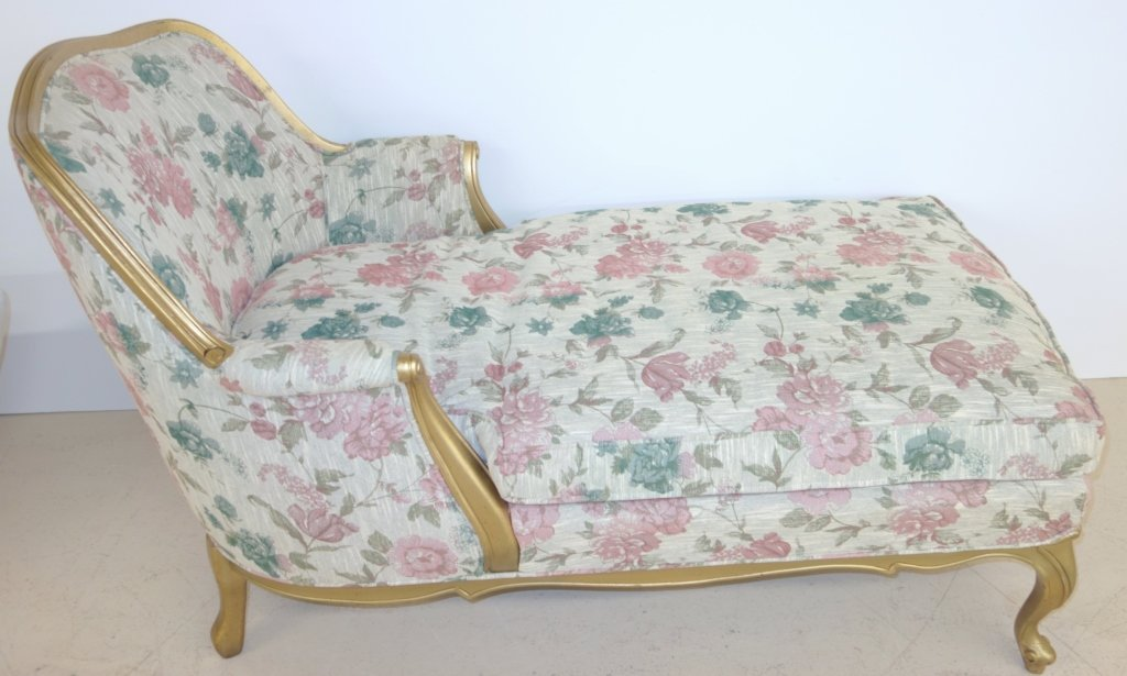 Floral upholstered & gilt lounge chair