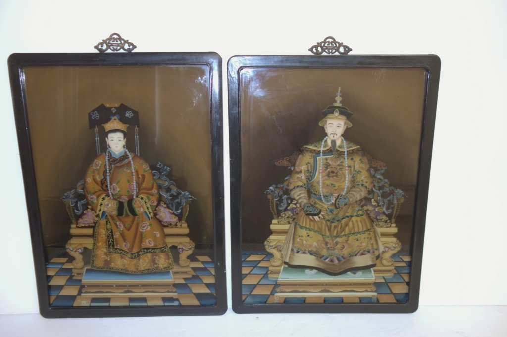 2 reverse glass painted Chinese ancestors