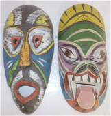 2 handpainted African wall hanging face masks