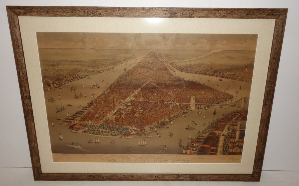 Large folio Currier & Ives City of NY lithograph