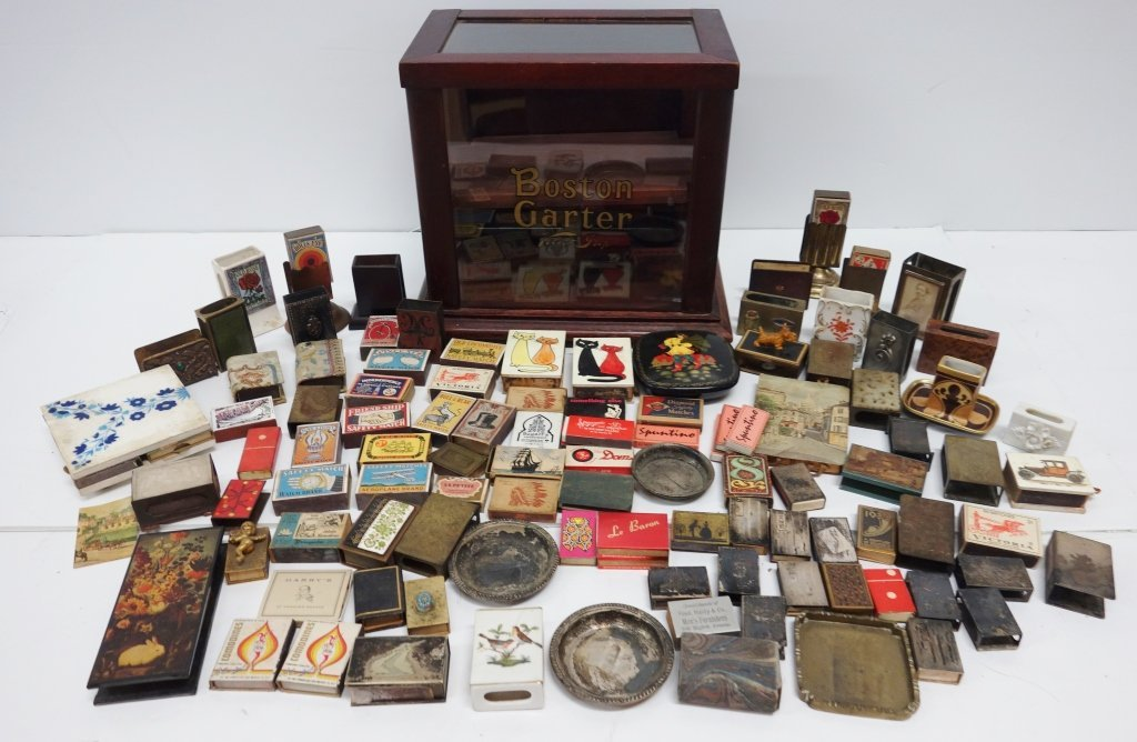 Collection of safety matches  & display case