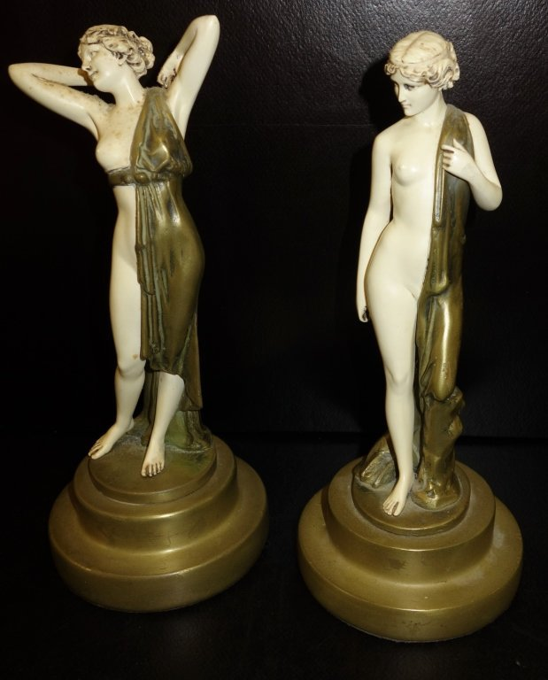 Pair of Art Deco style plaster figures