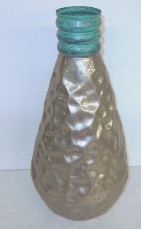 Modern hand hammered aluminum vase