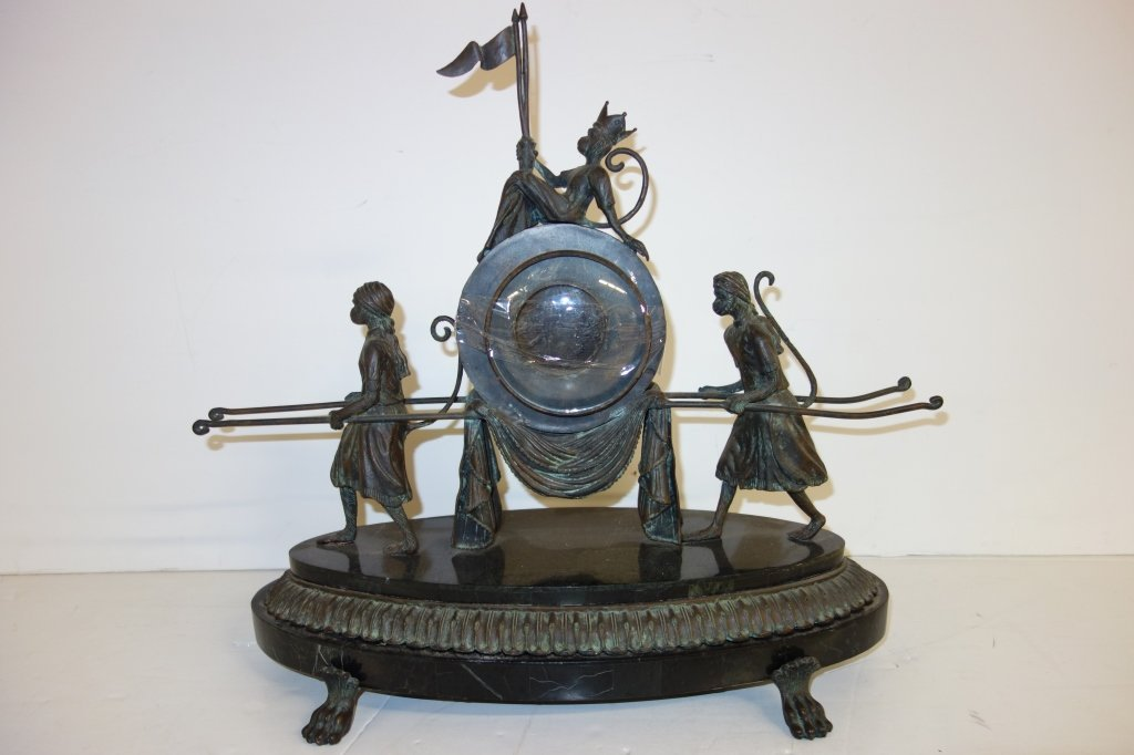 Bronze contemporary clock case with monkeys