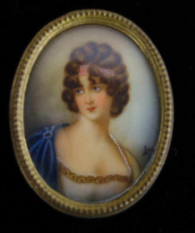 Hand painted miniature portrait of woman signed