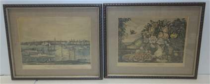 2 Currier  Ives colored engravings