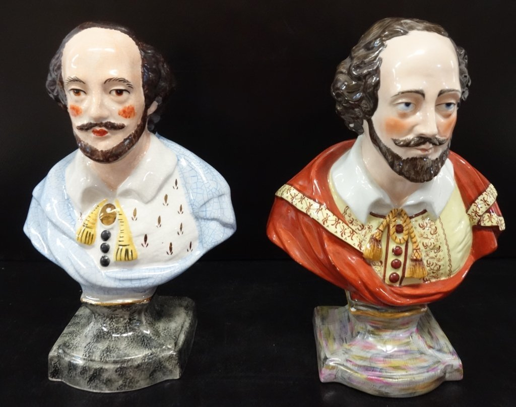 2 Shakespeare porcelain busts
