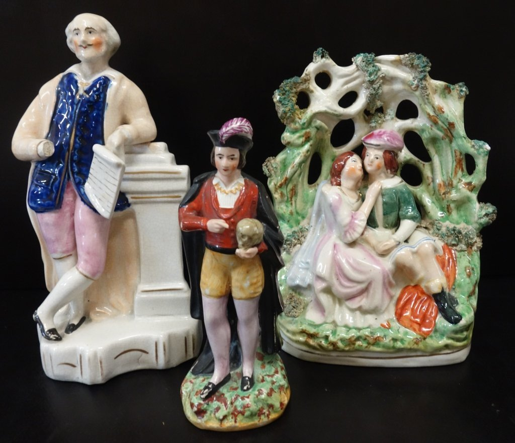3 Staffordshire figures