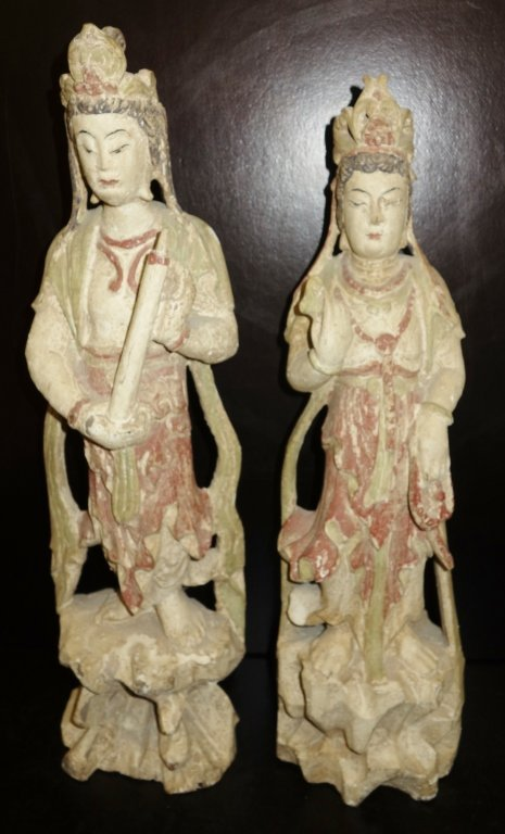 Pair of wood carved Chinese figures