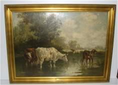 Large oil on board   signed Emile van Marcke 1883