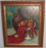 Oil on canvas still life fruit scene signed