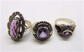 3 Amethyst sterling silver ladies marcasite rings