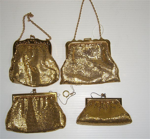 4 vintage Whiting & davis Gold Mesh Evening Bags