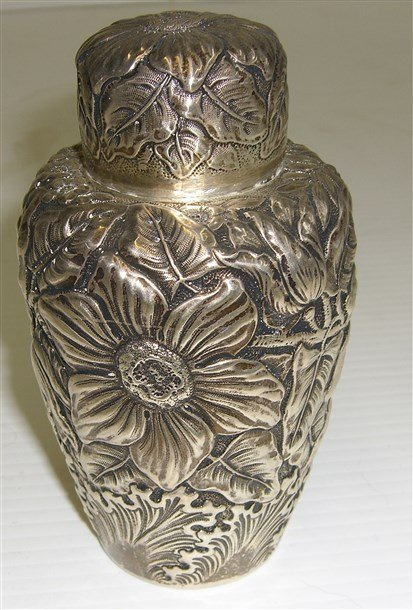 Repose sterling silver flower covered jar.