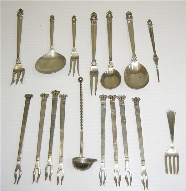 17 piece sterling silver assorted utensils