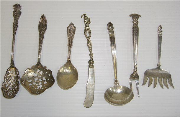 7 piece sterling silver assorted utensils