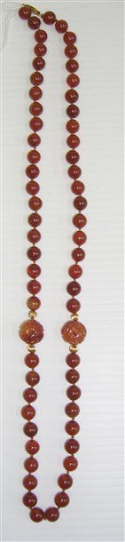 Carnelian with carved accent bead clasp necklace