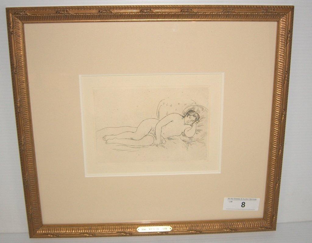 """""""Femme Nue Couchee"""" Renior etching"""