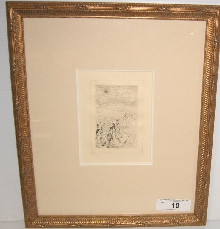 """Sur La Plage"" Renior etching"