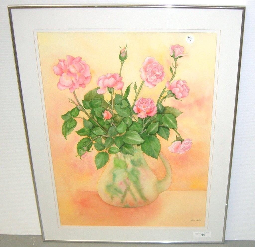 Large watercolor still life signed