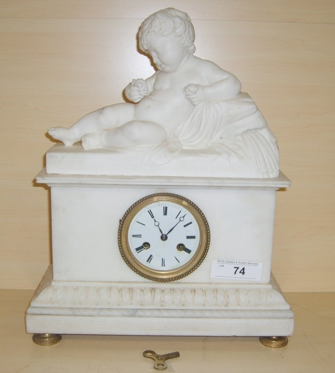 c. 1800 carved marble mantle clock
