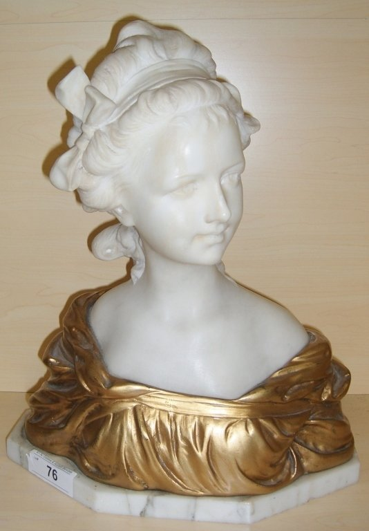 Marble & bronze bust of a young girl
