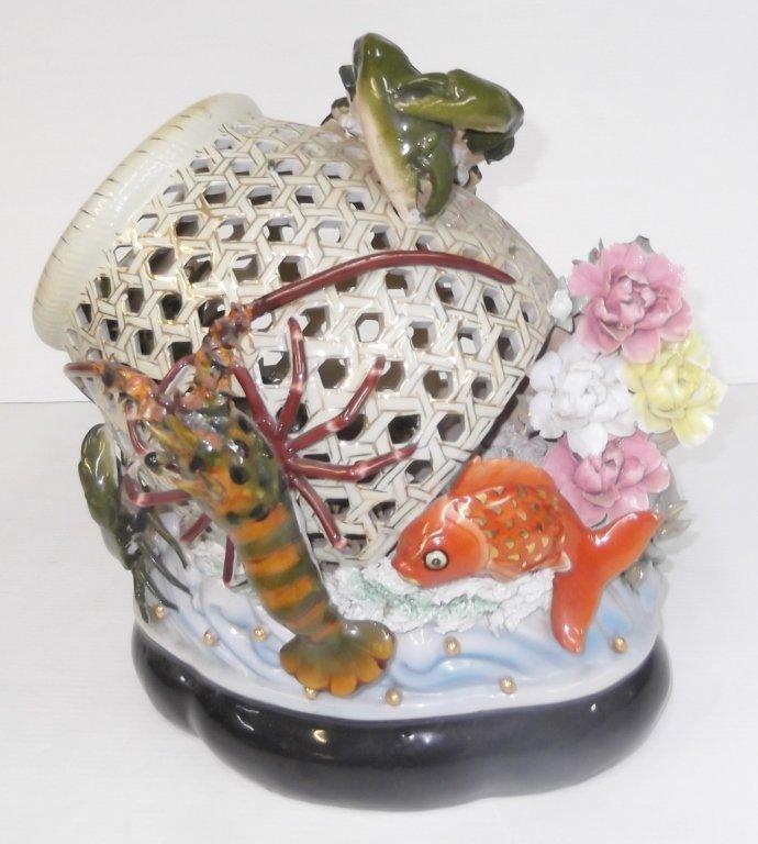 Large Japanese majolica crab lobster & koi basket