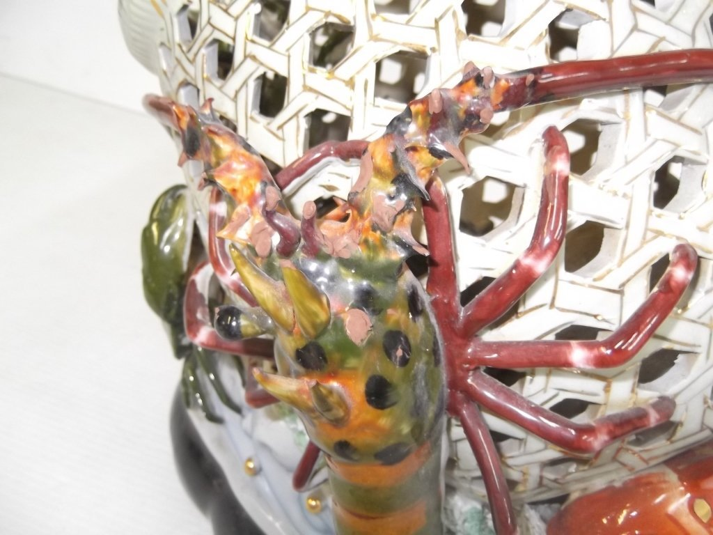 Large Japanese majolica crab lobster & koi basket - 2