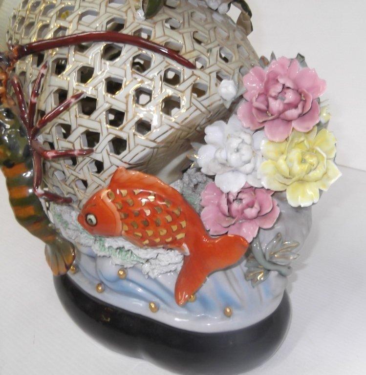 Large Japanese majolica crab lobster & koi basket - 4