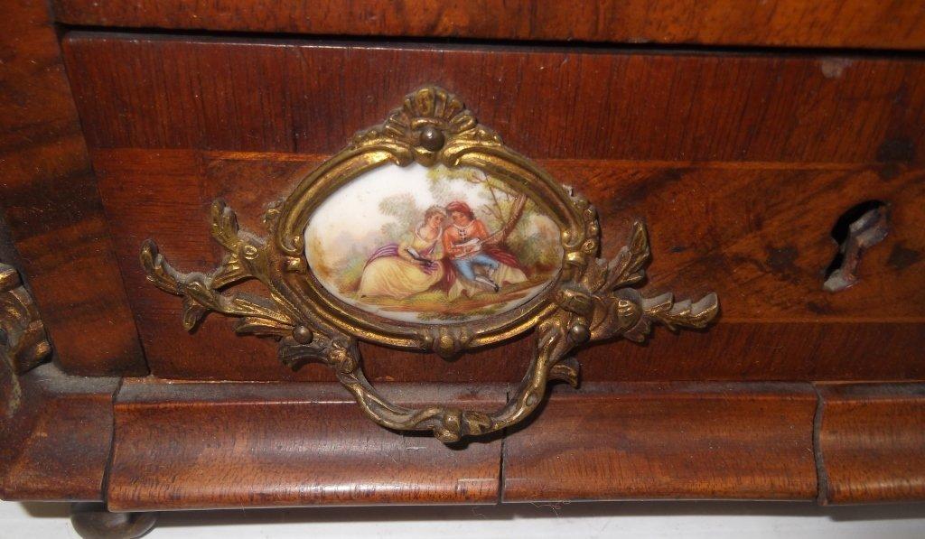 Porcelain mounted French locking miniature cabinet - 8