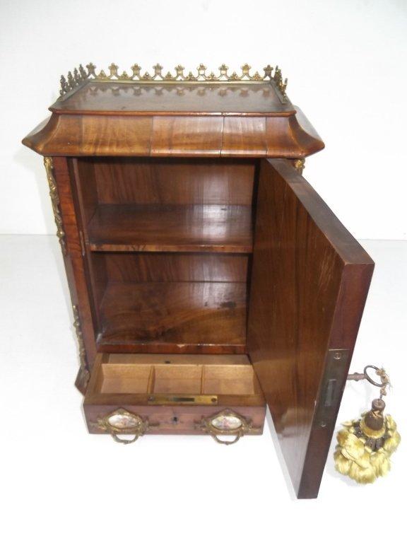Porcelain mounted French locking miniature cabinet - 9