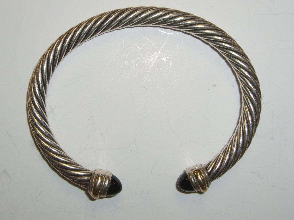 David Yurman sterling 14k gold onyx  bracelet