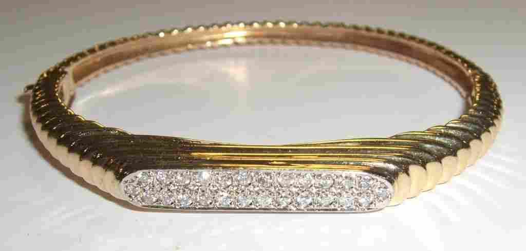 14k gold ribbed hinged diamond bracelet