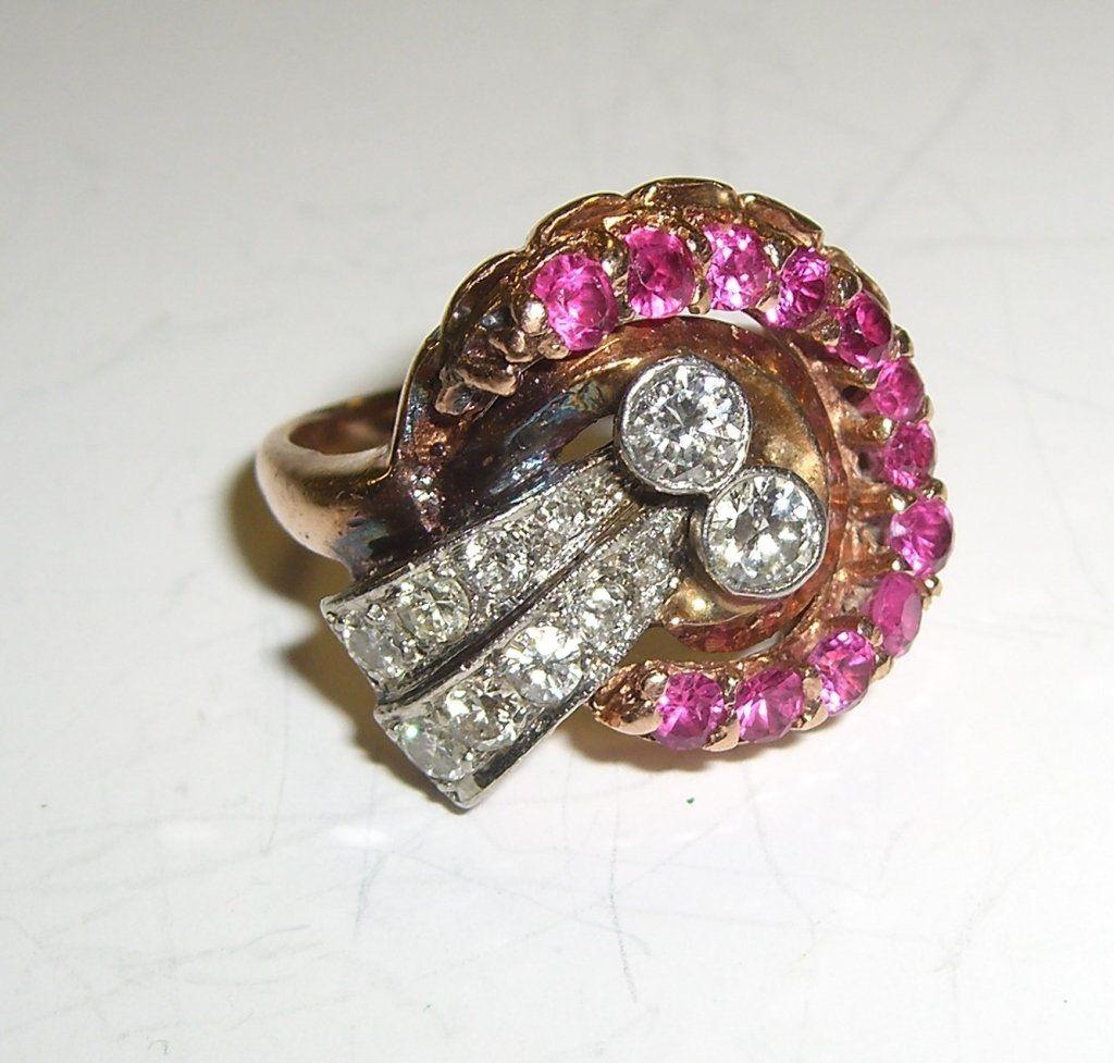 Art Deco 14k rose gold ruby, diamond ring