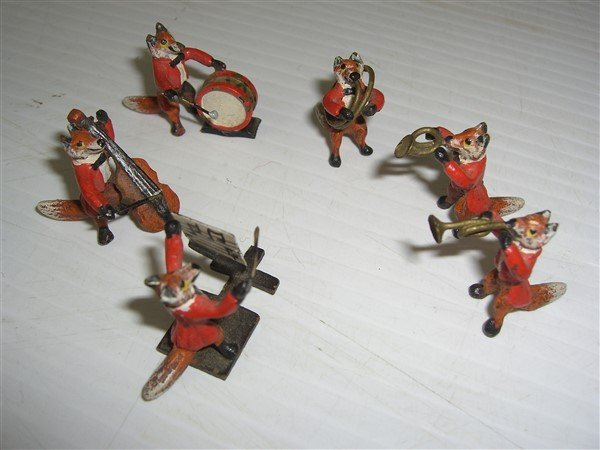 miniature cold painted austrian bronze  fox band